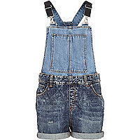 Dark wash two-tone denim dungarees