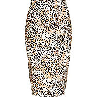 Brown animal print pencil skirt