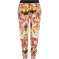 Orange geometric print jogger trousers
