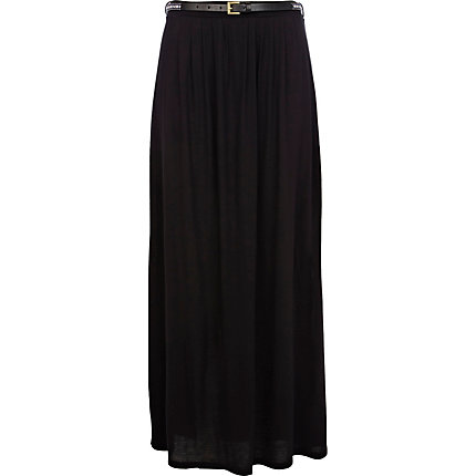 Black belted side split maxi skirt