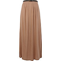 Beige belted side split maxi skirt