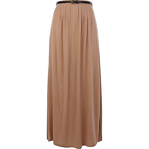 Beige belted side split maxi skirt