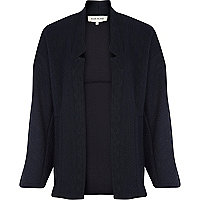 Navy chunky cable knit jacket