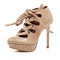 Nude lace up platform court shoes