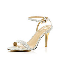 White metal plated heel barely there sandals