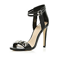 Black jewel front sandals