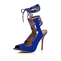 Blue tie up ankle strap stiletto sandals