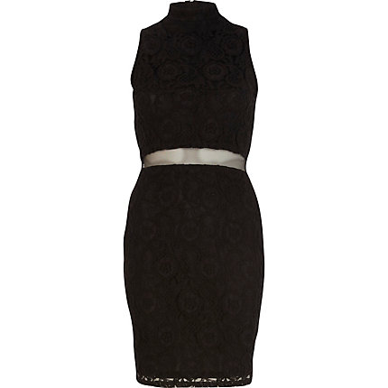 Black lace mesh waist bodycon dress