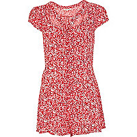 Red floral print cut out playsuit