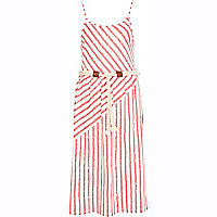 Red stripe rope belt cami dress