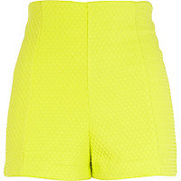 Lime textured high waisted city shorts