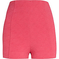 Hot pink textured high waisted city shorts