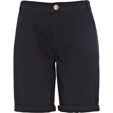 Navy casual long roll hem shorts