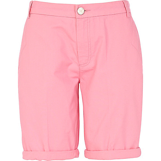 Pink casual roll hem long shorts