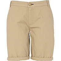 Light beige casual roll hem long shorts