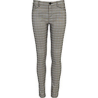 Light grey check skinny trousers