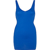 Bright blue low V neck vest