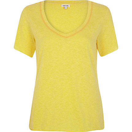 Yellow slub V neck t-shirt
