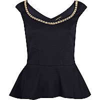 Navy studded trim peplum top