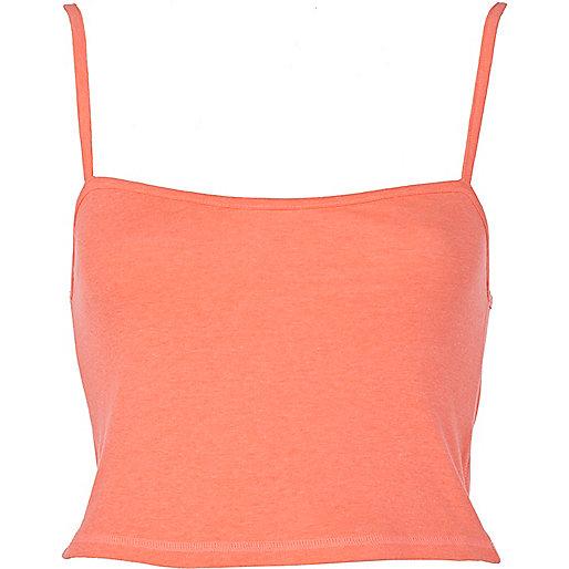 Bright coral rib cropped vest