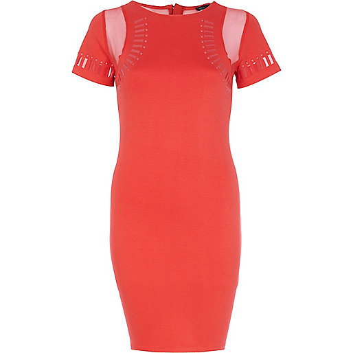 Red embellished bodycon dress