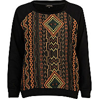 Black aztec embellished sweatshirt
