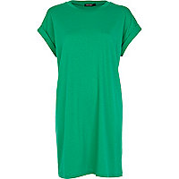 Green short sleeve t-shirt dress