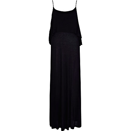 Black double layered cami maxi dress