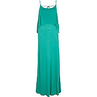 Green double layered cami maxi dress