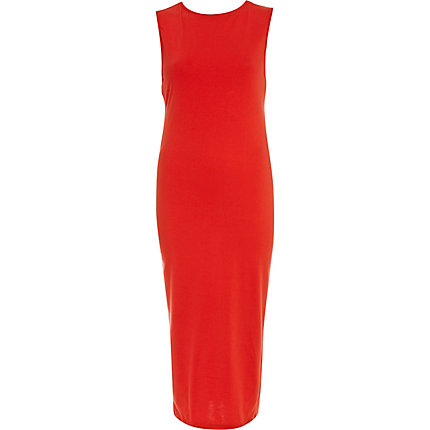 Red cut out back midi dress