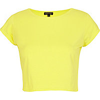 Yellow cap sleeve crop top