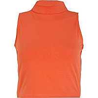 Orange turtle neck sleeveless crop top