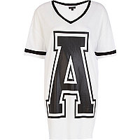 Black and white A print varsity t-shirt dress