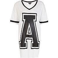 Black and white A print varsity t-shirt dress