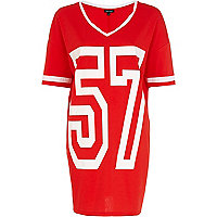 Red and white 57 print varsity t-shirt dress