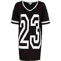 Black 23 print varsity t-shirt dress