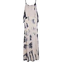 Beige tie dye layered cami maxi dress