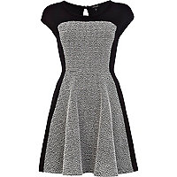 Black boucle panel skater dress