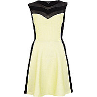 Black lime panel sleeveless skater dress
