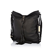 Black tumbled leather tassel messenger bag