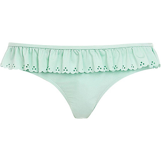 Mint green scalloped bikini bottoms