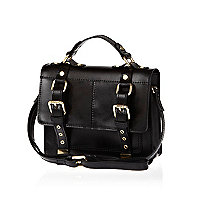 Black leather mini satchel