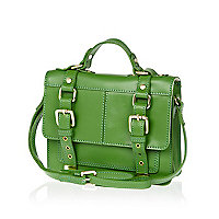 Green leather mini satchel