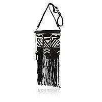 Black fringed tapestry cross body bag