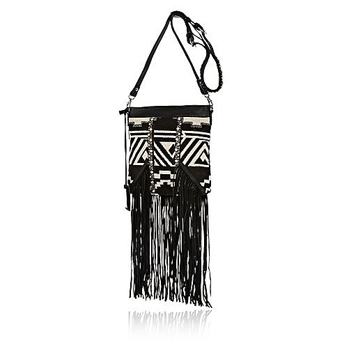 Black fringed tapestry cross body bag