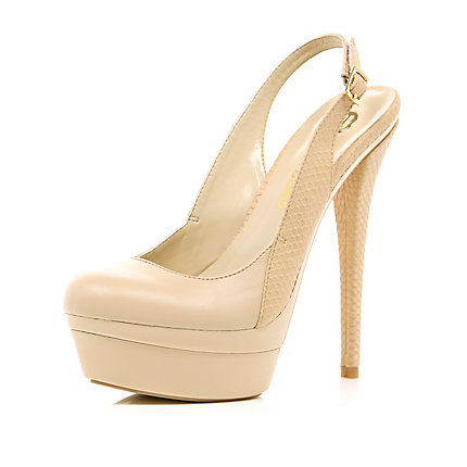 Pink sling back platform stiletto court shoes