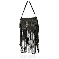 Black leather fringed woven clutch bag