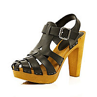 Black gladiator clog heel sandals