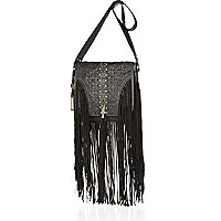 Black leather fringed saddle bag