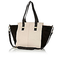 Cream leather colour block slouch bag
